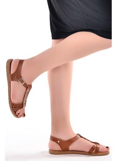 Annamaria Annamaria Direkli Günlük Bayan Sandalet Terlik Taba